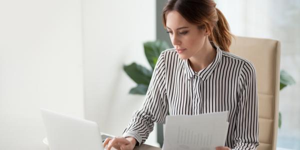 Lady computing her budget