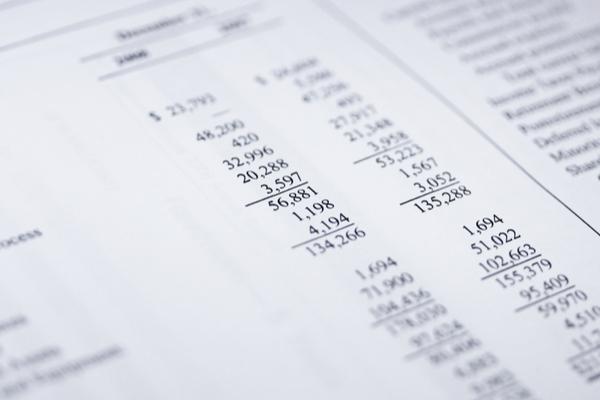 Financial report values close up