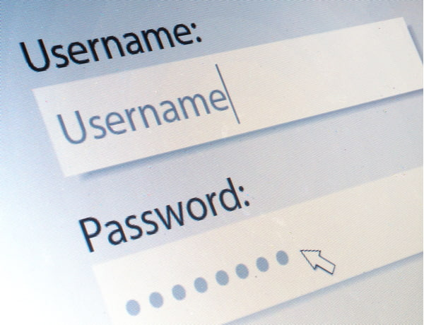 Username and Password on Computer Screen