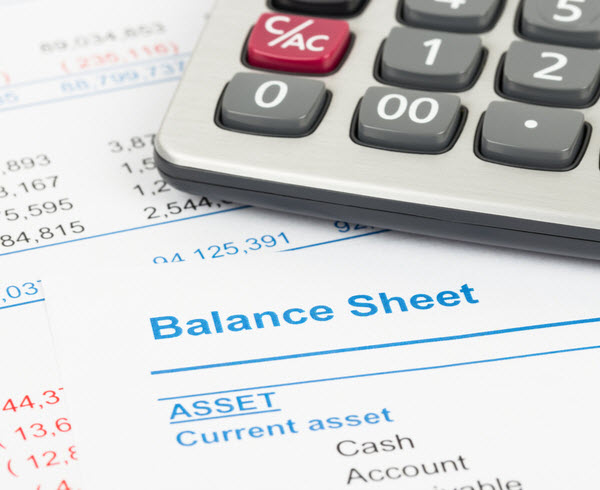Balance sheet report with calculator