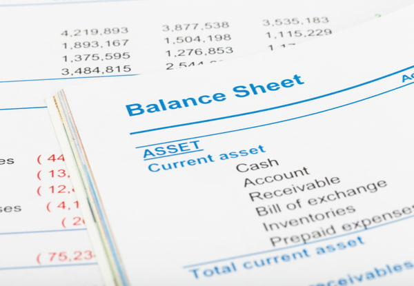 Balance sheet in stockholder report book