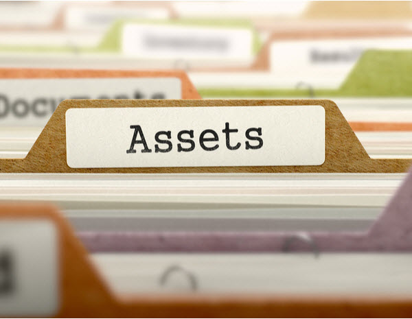 Assets word pasted on a folder