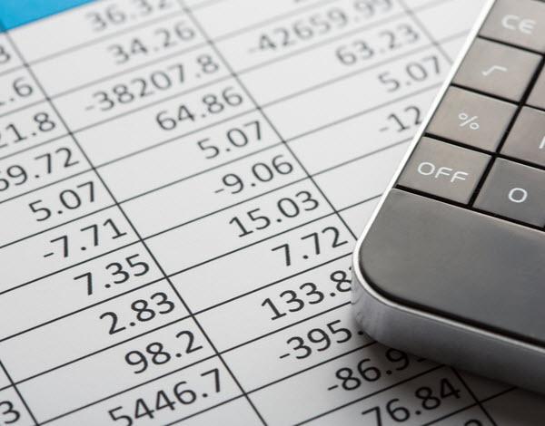 Financial business sheet and calculator